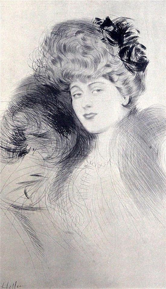 Paul César Helleu (1859-1927) Portrait of a young lady overall 14 x 9.25in.