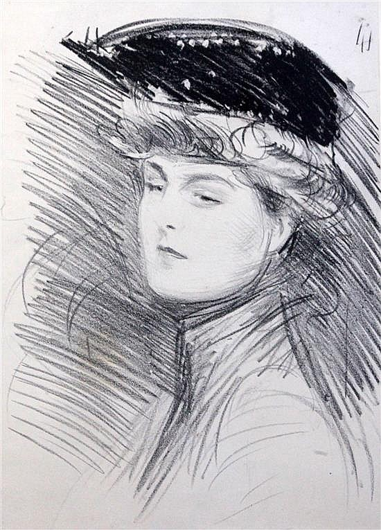Paul César Helleu (1859-1927) Head study of a woman 16 x 12in.