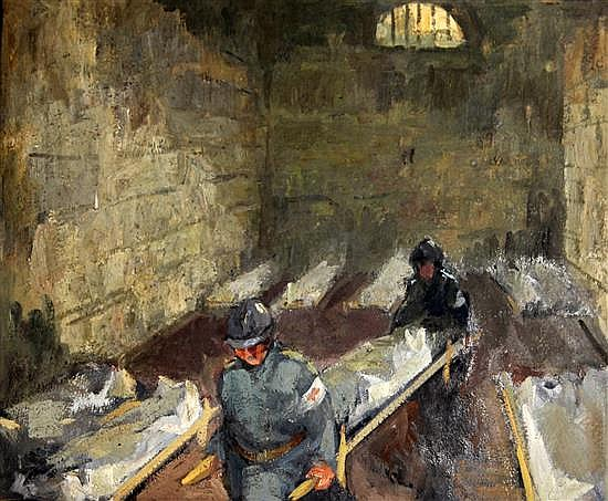 Paul-Frédéric-Antoine Charavel (1877-1961) French infantry stretcher bearers in an infirmary 19.5 x 24in. unframed