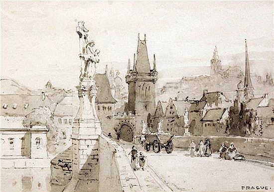 Sir Ernest George (1839-1922) View of Prague 6 x 8.5in.