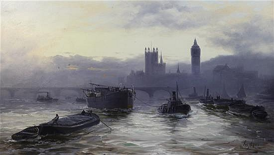 Jno. Hayes a.k.a Edwin Fletcher (1857-1945) The Palace of Westminster from The Thames 24 x 42in.