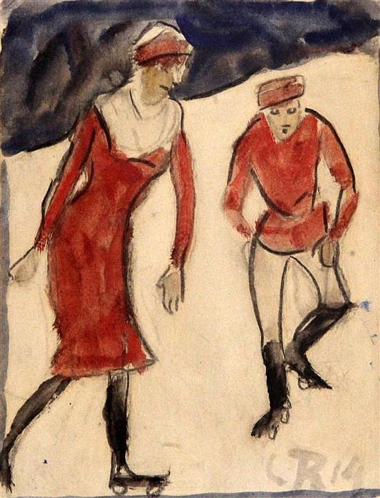 Christian Rohlfs (1849-1938) Roller Skaters, 1914, 7.25 x 5.5in.