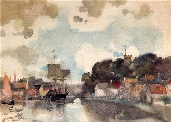 James Watterson Herald (1859-1914) Shipping in harbour 9 x 12.75in., unframed