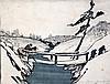 Bror Julius Olsson Nordfeldt (1878-1955) Three Travellers Crossing a Bridge in the Snow, 8.25 x 10.75in.