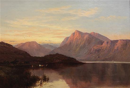 Alfred de Breanski (1852-1928) Sunset, Llyn Gwynant, North Wales 20 x 30in.