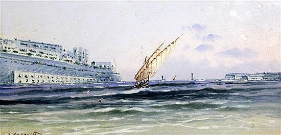 Vincenzo D' Esposito (1886-1946) Valetta harbour, Malta, 5 x 10in.