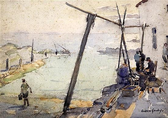 Andrew Archer Gamley (1869-1949) Fishermen on the quay 10.5 x 14.5in