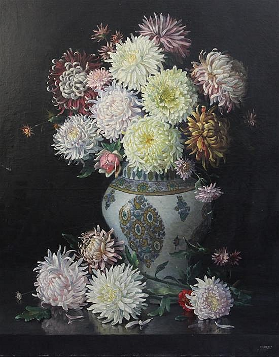 Roger-Marios Debat (1906-1972) Still life of chrysanthemums in a faience vase 39 x 32in., unframed