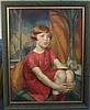 Rosalie Emslie (1891-?) Portrait of a girl seated in a red dress 36 x 28in.