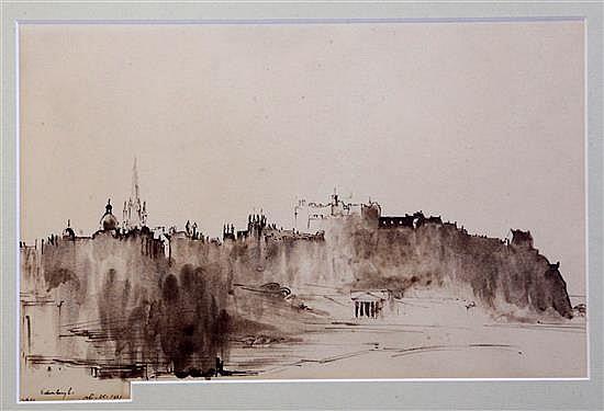 Sir David Muirhead Bone (1876-1953) View of Edinburgh 7.5 x 12.25in.