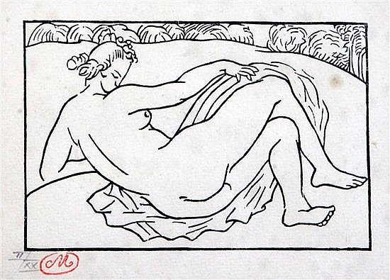 Aristide Maillol (1861-1944) Reclining nude 4.75 x 6.5in.