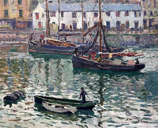 § John Anthony Park (1880-1962) Fishing boats in Brixham harbour 12.25 x 15.5in.