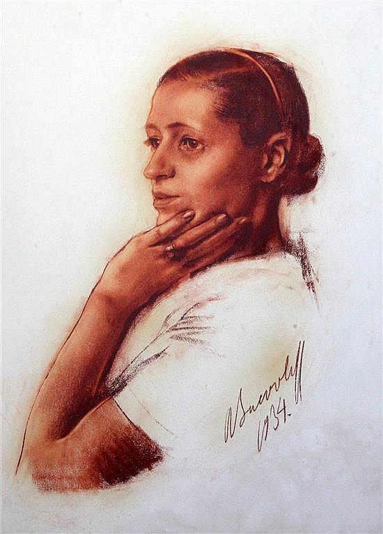Alexandre Iacovleff (Russian, 1887-1938) Portrait of a Irene Andreeva (1911-1990) 24.5 x 19.5in.