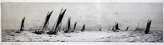 William Lionel Wyllie (1851-1931) Yacht racing off the coast 3.5 x 14in.