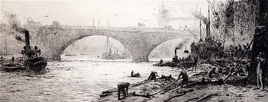 William Lionel Wyllie (1851-1931) London Bridge c.1920 5 x 13in.