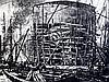 Sir Muirhead Bone (1876-1953) Ship building scenes 20 x 15in. & 15 x 20.5in., unframed
