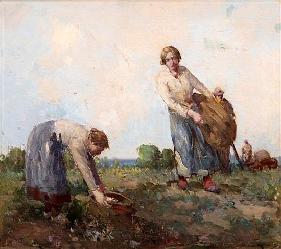 William Lee Hankey (1869-1952) Gathering Turnips, 14 x 16in.