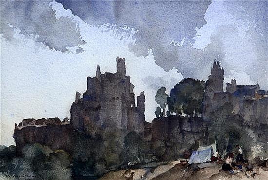 Sir William Russell Flint (1880-1969) 'Little encampment, Chauvigny', 7.25 x 11in.