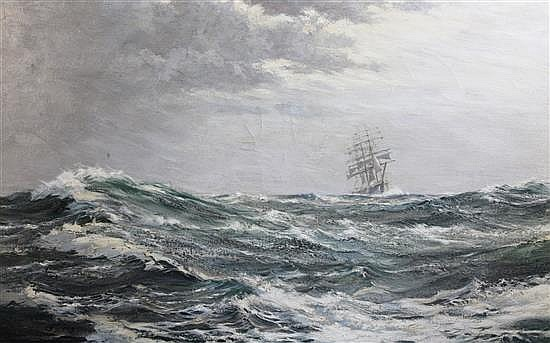 § Montague Dawson (1890-1973) Clipper ship at sea 28 x 45.5in.