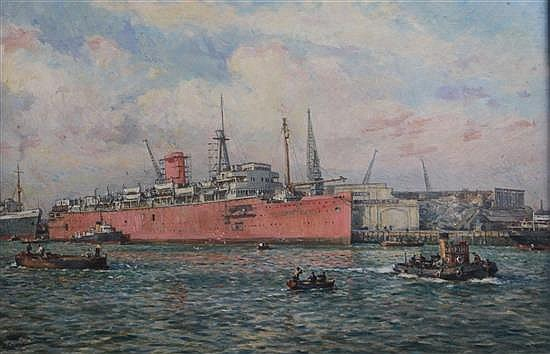 Bernard Gribble (1873-1962) Merchant ship in harbour 19.5 x 29.5in.