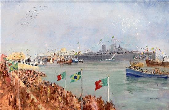 Francis Russell Flint (1915-1977) Naval Regatta 19 x 29in.