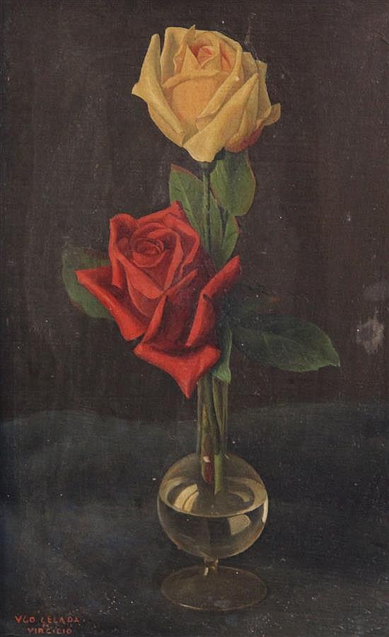 Ugo Celada (1895-1995) Still life of roses in a glass vase 13 x 8.5in.