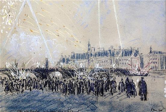 Lord Methuen (1886-1974) Victory night celebrations seen from the Houses of Parliament terrace, 8th June 1946 11 x 16in.