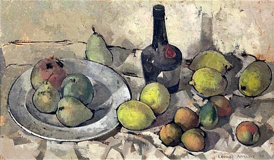 Leonard Appelbee (1914-2000) Still life of lemons and a benedictine bottle 11.5 x 19.5in.