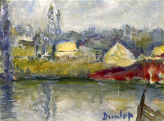 Ronald Ossory Dunlop (1894-1973) Lake scene 6.5 x 9in.