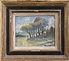 Ronald Ossory Dunlop (1894-1973) Traveller in a wooded landscape 7.5 x 9.5in.