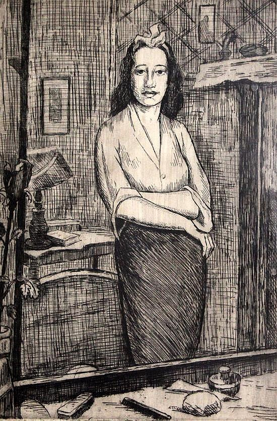 Clifford Hall (1904-1973) Woman looking in a mirror 17 x 12in.