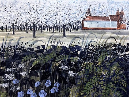Robert Tavener (1920-2004) Kentish landscape 14 x 19.5in.