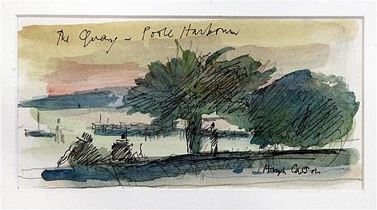 Sir Hugh Casson (1910-1999) The Quay, Poole Harbour 3.75 x 7.5in.