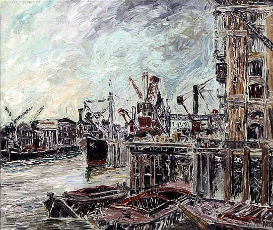 George Hann (20th C.) On the Thames by Tower Bridge from Katherine Docks 24.5 x 30in.