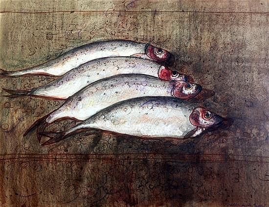 William de Belleroche (1912-1969) Still life of herrings 21 x 26.5in.