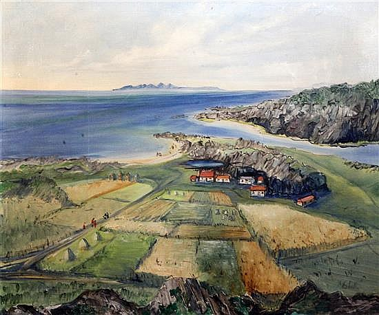 Eilidh Barnardo (1911–1994) Scottish landscape with Isle of Skye 20 x 24in.