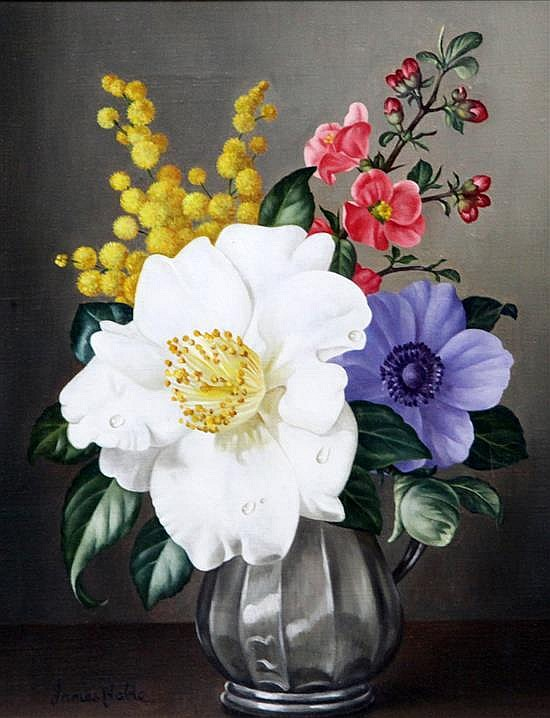 James Noble (1919-1989) Arrangement of spring flowers 10 x 8in.