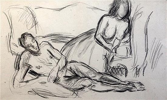 § Duncan Grant (1885-1978) Reclining nudes 13 x 21.5in.