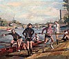 David Giffard (b.1932) Rowers on the shore 20 x 24in., unframed