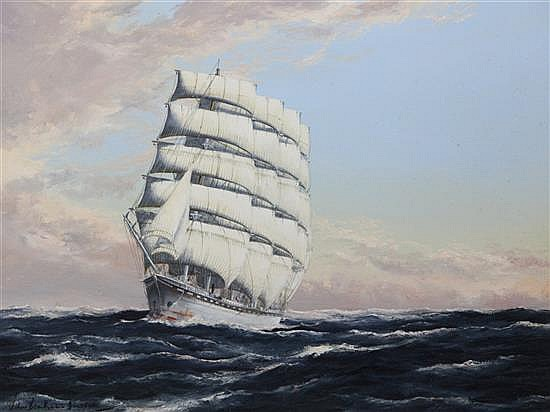 John Bentham-Dinsdale (1927-2008) 'The Great White Ship, The France II' 18 x 24in.