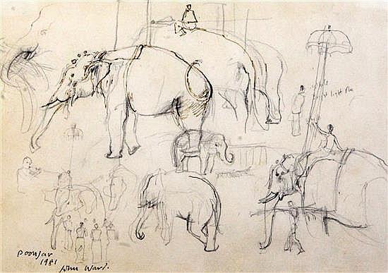 John Ward (1917-2007) Temple elephants, Poonjar, Kerala 6 x 9in.