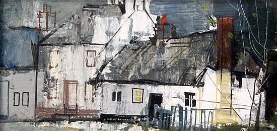 § George Hammond Steel (1900-1960) Essex Cottages (Thaxted) 3.25 x 6.5in.