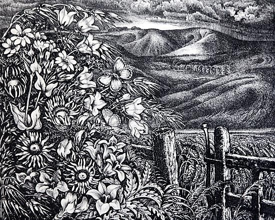 Robin Tanner (1904-1988) August in Wiltshire, 1976 overall 15 x 16in.