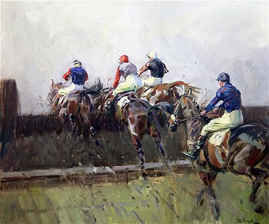 § Peter Biegel (1913-1987) 'Brave Men and Novices, the Old Open Ditch, Cheltenham' 20 x 24in.