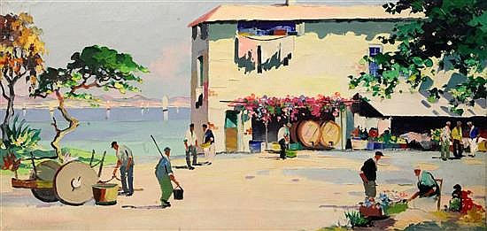 § Cecil Rochfort D'Oyly John (1906-1993) Cagnes sur Mer, Near Cannes 14 x 28in., unframed