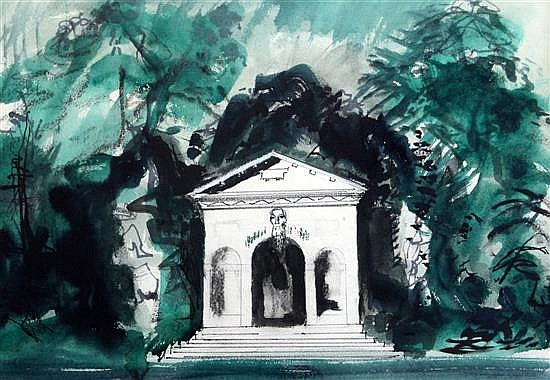§ John Piper (1903-1992) The Temple of Venus at Stowe 13.75 x 19.5in.