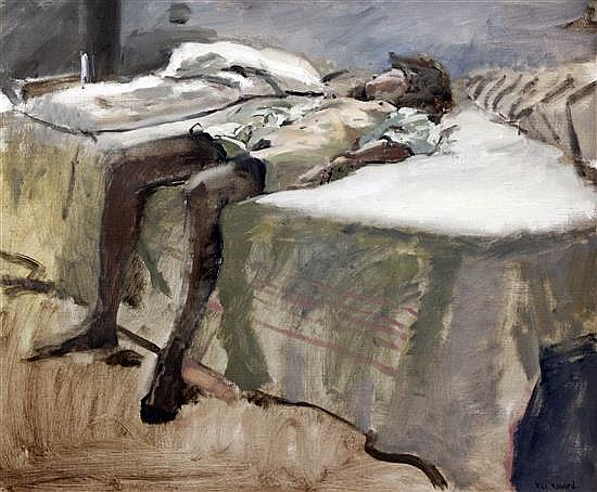 § Ken Howard (1932-) Reclining nude in stockings 20 x 24in.