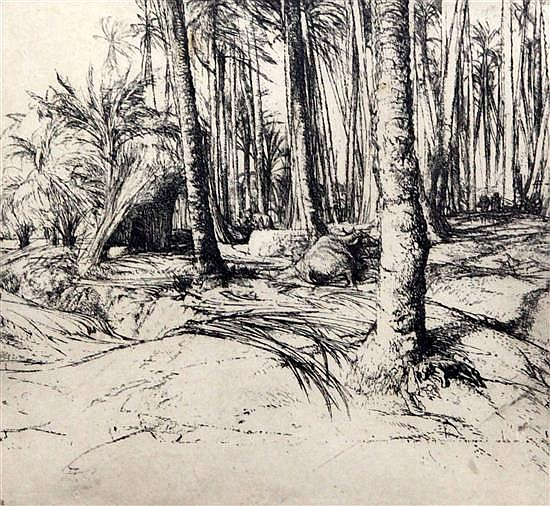 Raymond Teague Cowern (1913-1986) Stripping palm leaves near Mitrahina 6.25 x 7in.