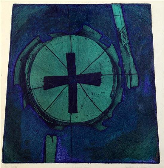 Jennifer Dickson (1936-) Vibrant Sun 16.5 x 16.5in.
