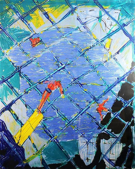 Bruce McLean (1944-) The Swimming Pool 71 x 54in.